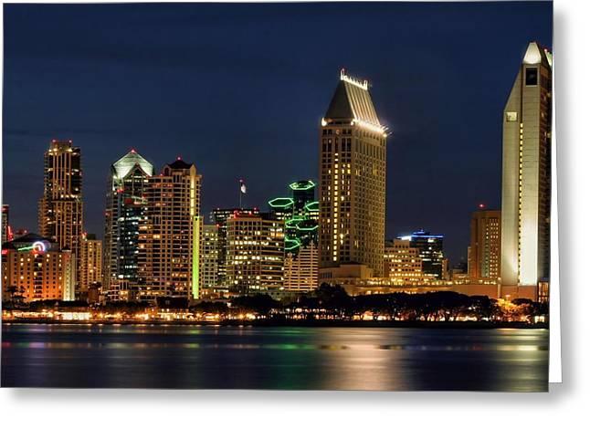 San Diego Night Greeting Card