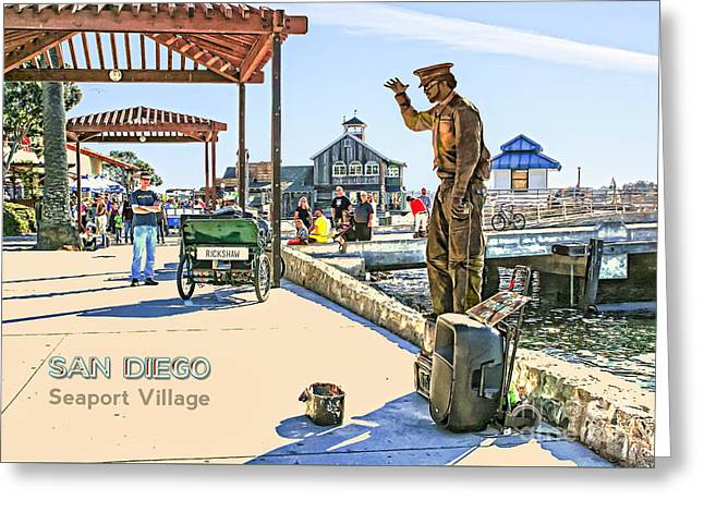 San Diego - Seaport Village Scene Greeting Card