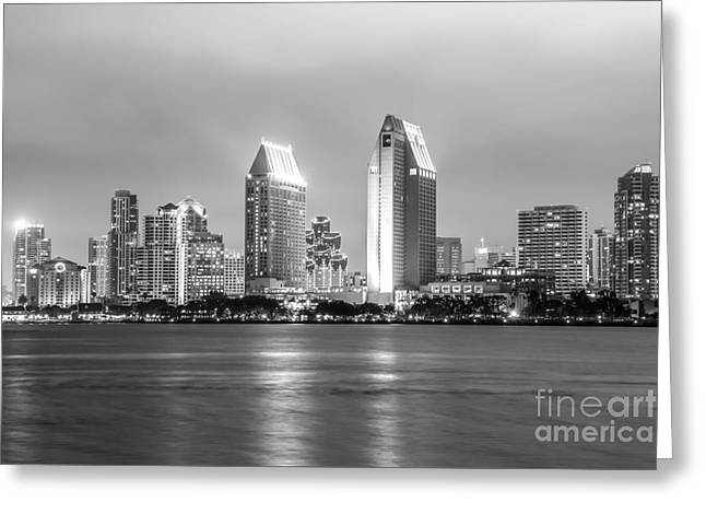 San Diego Skyline At Night Black And White Photo Greeting Card by Paul Velgos