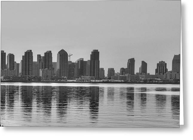 San Diego Skyline Black And White Greeting Card