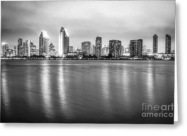 San Diego Skyline Black And White Photo Greeting Card by Paul Velgos