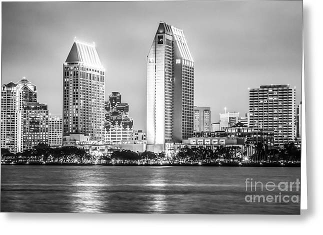 San Diego Skyline Black And White Picture Greeting Card by Paul Velgos