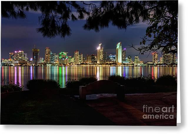 Greeting Card featuring the photograph San Diego Skyline by Eddie Yerkish