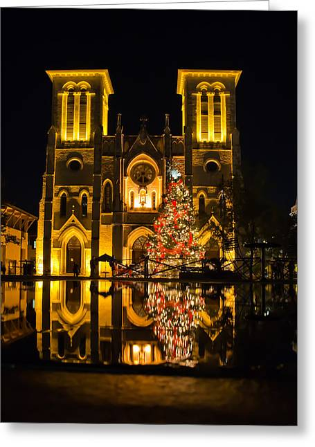 San Fernando Cathedral In Christmas 2010 Greeting Card by Iris Greenwell