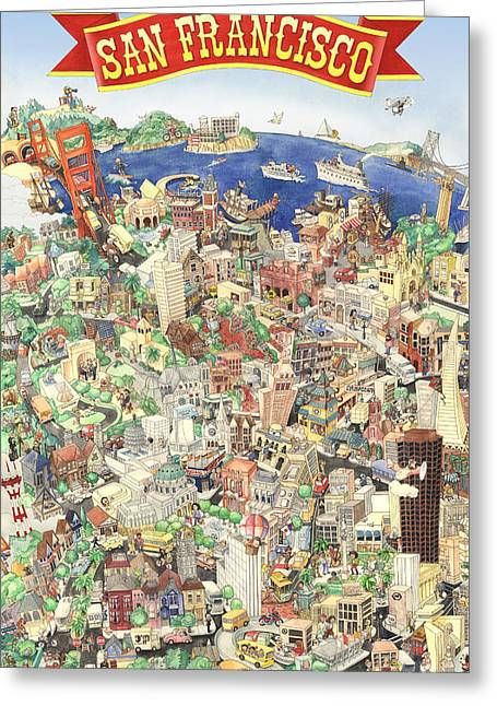 San Francisco - Where East Meets West Greeting Card by Philippe Plouchart