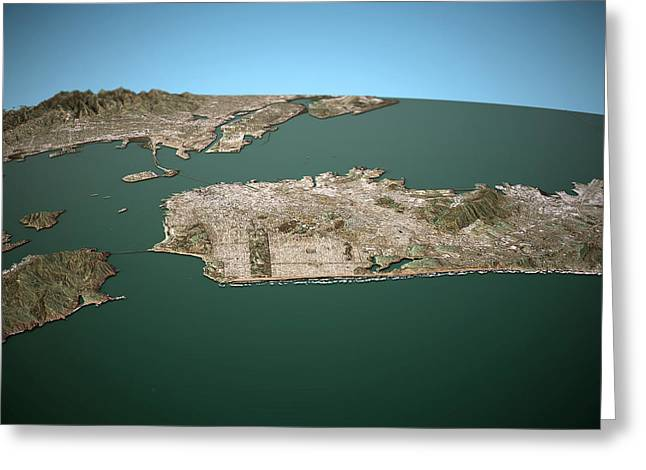 San Francisco 3d View West To East Natural Color Greeting Card by Frank Ramspott