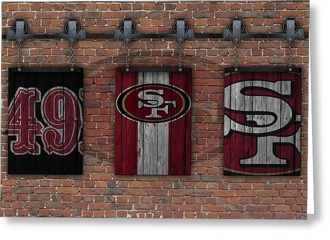 San Francisco 49ers Brick Wall Greeting Card by Joe Hamilton