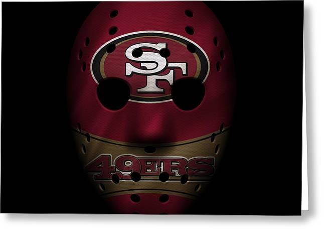 San Francisco 49ers War Mask Greeting Card by Joe Hamilton
