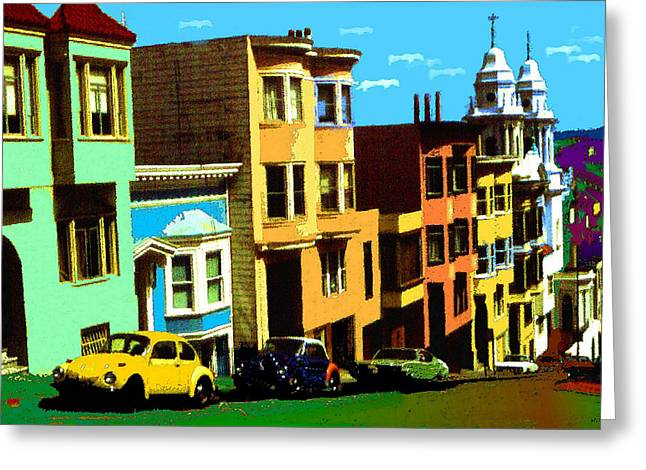 San Francisco Pop Art Blue Green Red Yellow Greeting Card