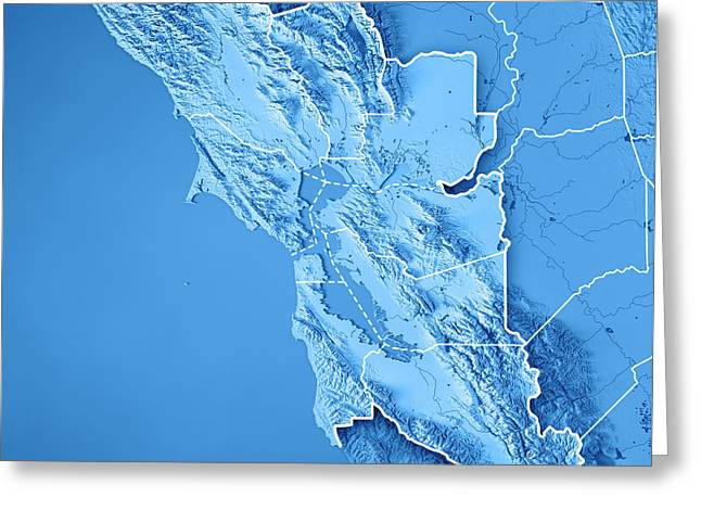 San Francisco Bay Area Usa 3d Render Topographic Map Blue Border Greeting Card