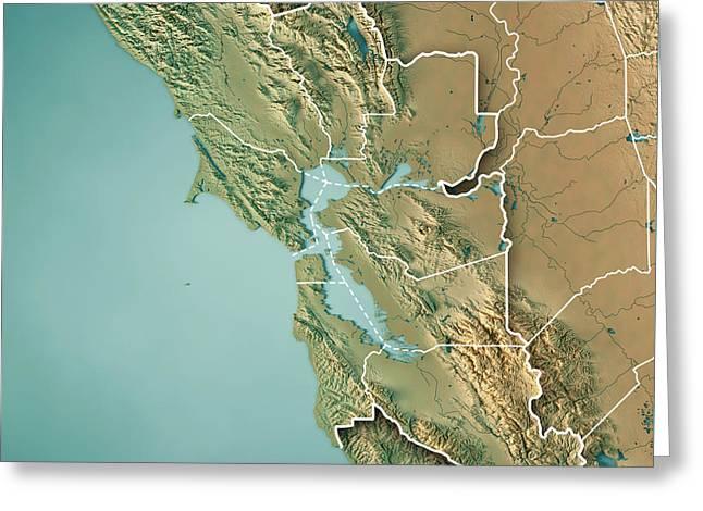 San Francisco Bay Area Usa 3d Render Topographic Map Border Greeting Card