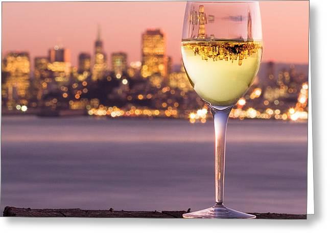 San Francisco Bay Wine Glass Greeting Card by David Rigg