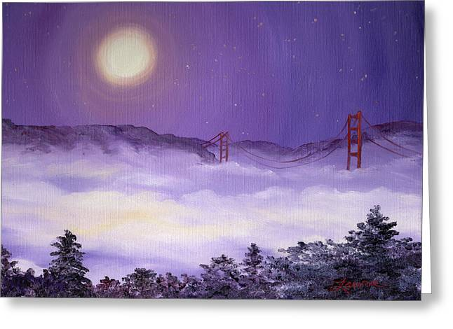 Purple Abstract Greeting Cards - San Francisco Bay in Purple Fog Greeting Card by Laura Iverson