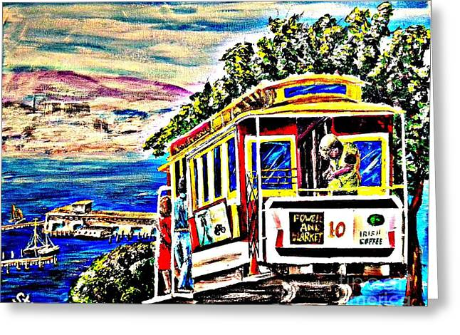 San Francisco Cable Car Art Greeting Card by Irving Starr