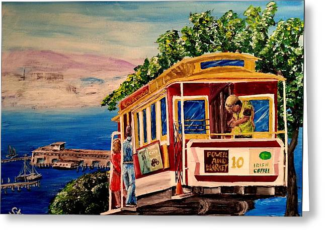 San Francisco Cable Car Greeting Card by Irving Starr