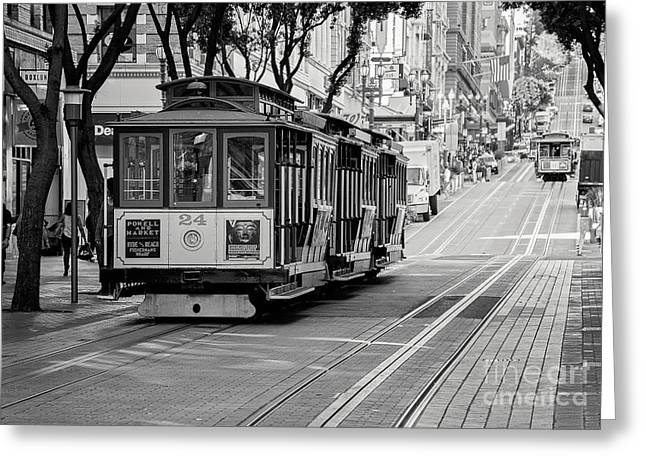San Francisco Cable Cars Greeting Card by Eddie Yerkish