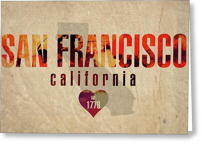 San Francisco California City Love Established 1776 Series 002 Greeting Card by Design Turnpike