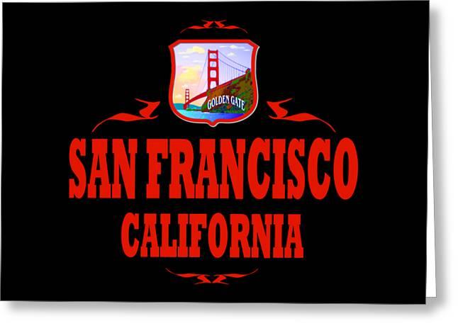 San Francisco California Tshirt Design Greeting Card by Art America Gallery Peter Potter
