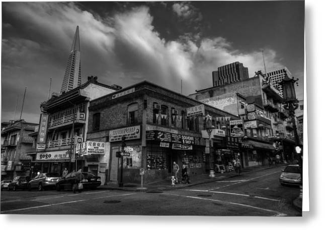 Greeting Card featuring the photograph San Francisco - Chinatown 002 Bw by Lance Vaughn
