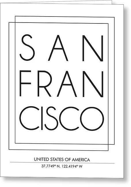 San Francisco City Print With Coordinates Greeting Card