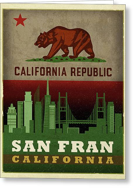 San Francisco City Skyline State Flag Of California Art Poster Series 019 Greeting Card