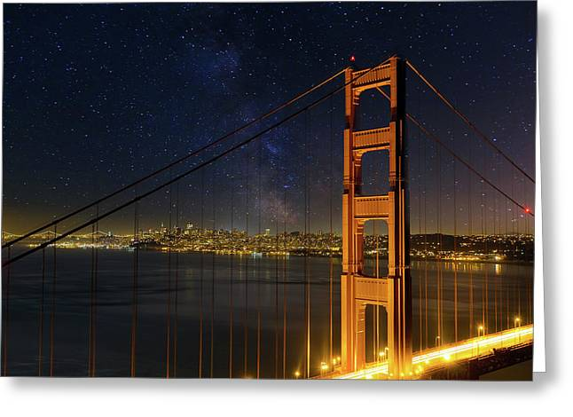 San Francisco City Skyline Through Golden Gate Bridge Greeting Card by David Gn