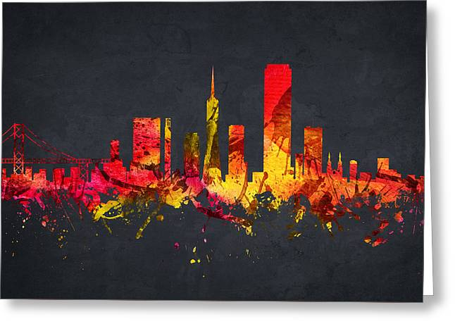 San Francisco Cityscape 07 Greeting Card by Aged Pixel
