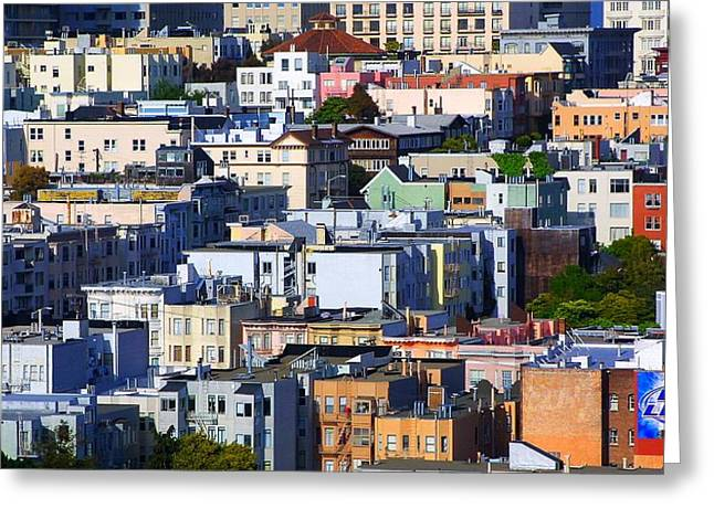 Downtown San Francisco Greeting Cards - San Francisco Cityscape Greeting Card by Mike Hendren