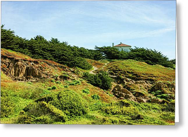 San Francisco Colorful Spring - Hilltop House With A View Greeting Card by Georgia Mizuleva