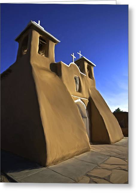 Greeting Card featuring the painting San Francisco De Asis Church  by Lou  Novick