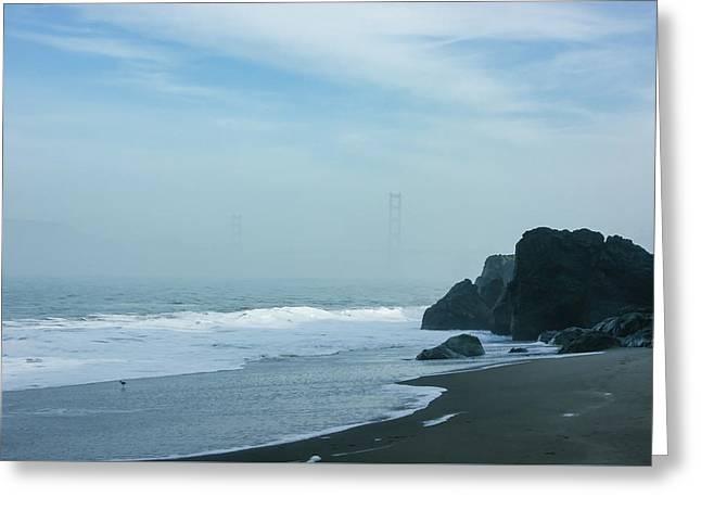 San Francisco Fog - Barely Discernible Golden Gate Bridge From China Beach Greeting Card