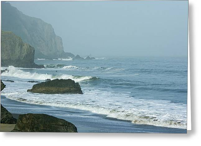San Francisco Fog - China Beach Rolling Surf Greeting Card by Georgia Mizuleva