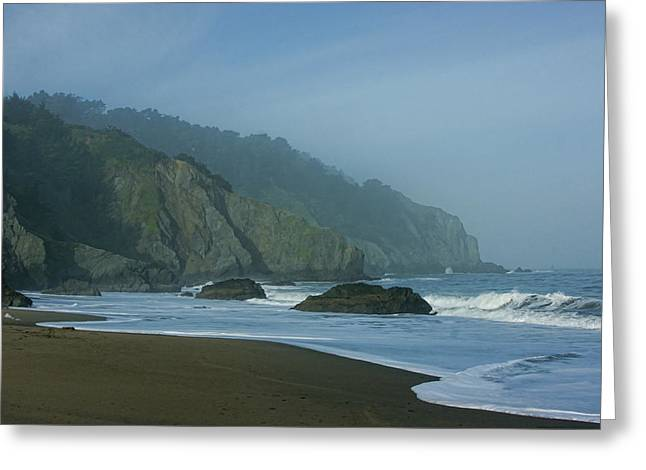 San Francisco Fog - China Beach Soft Foam Rough Rocks Greeting Card by Georgia Mizuleva