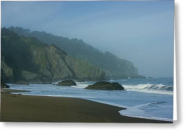 San Francisco Fog - China Beach Soft Foam Rough Rocks Greeting Card