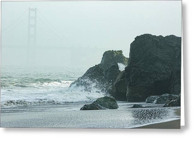 San Francisco Fog - Golden Gate Bridge Emerging From The Milky Mists Greeting Card by Georgia Mizuleva