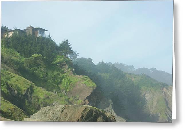 San Francisco Fog - Perfectly Perched House At China Beach Greeting Card by Georgia Mizuleva