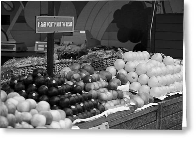 San Francisco Fruit Stand Bw Greeting Card by Frank Romeo