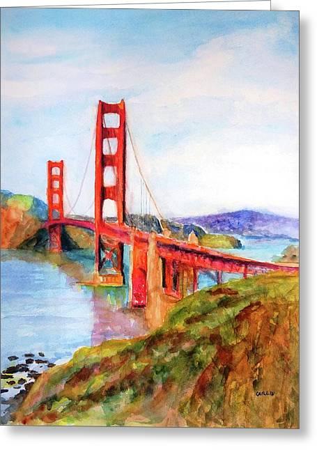 San Francisco Golden Gate Bridge Impressionism Greeting Card