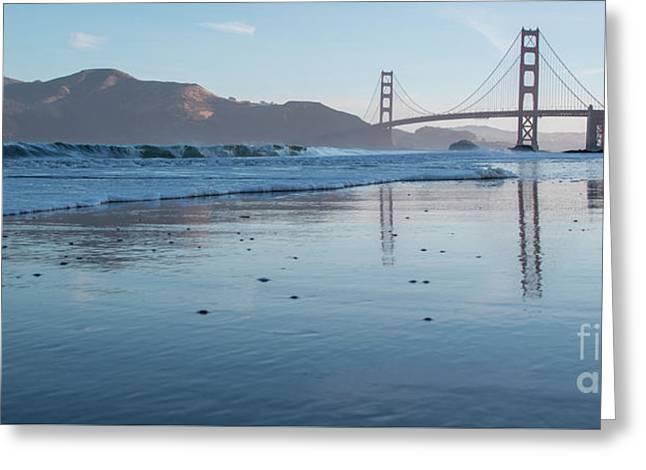 San Francisco Golden Gate Bridge Reflected On Baker's Beach Wet  Greeting Card