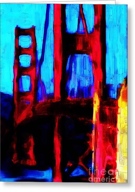 San Francisco Bay Digital Greeting Cards - San Francisco Golden Gate Bridge Greeting Card by Wingsdomain Art and Photography