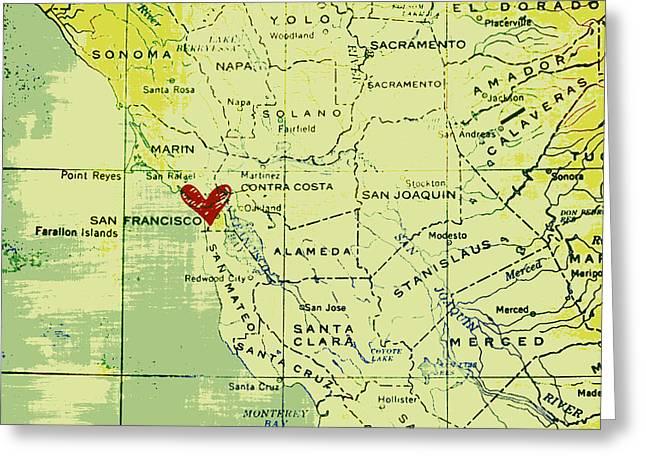 San Francisco Heart Map Greeting Card by Brandi Fitzgerald
