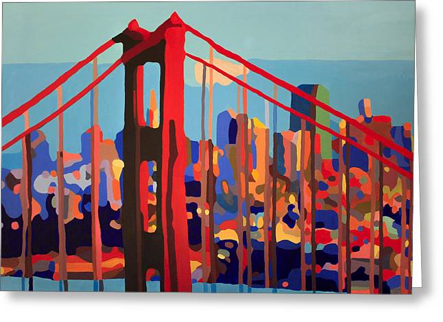 San Francisco In Color Greeting Card by Tracy Dupuis Roland