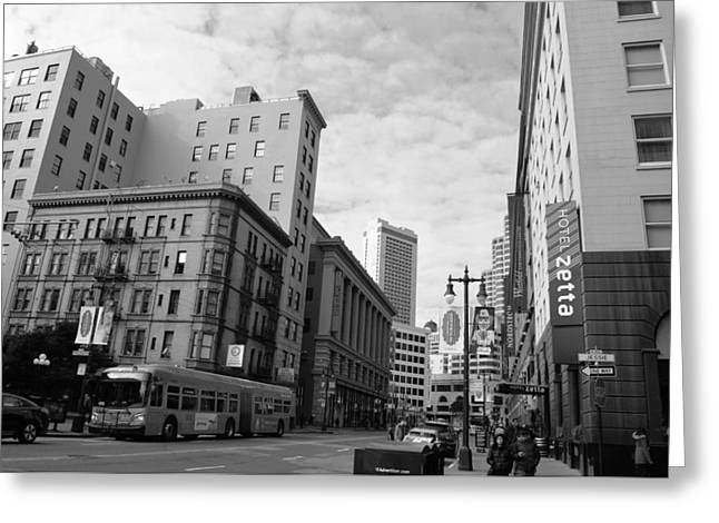 San Francisco - Jessie Street View - Black And White Greeting Card by Matt Harang