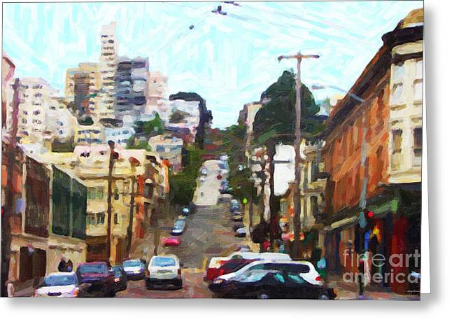 San Francisco Lombard Street Greeting Card by Wingsdomain Art and Photography