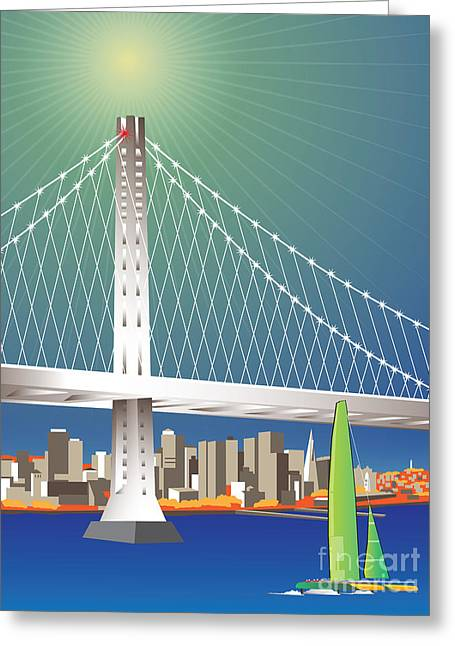 San Francisco New Oakland Bay Bridge Cityscape Greeting Card by Joe Barsin