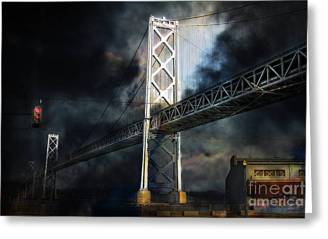 San Francisco Nights At The Bay Bridge . 7d7748 Greeting Card by Wingsdomain Art and Photography