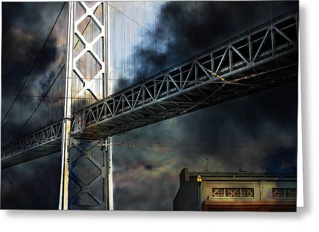 San Francisco Nights At The Bay Bridge 7d7748 Square Greeting Card by Wingsdomain Art and Photography