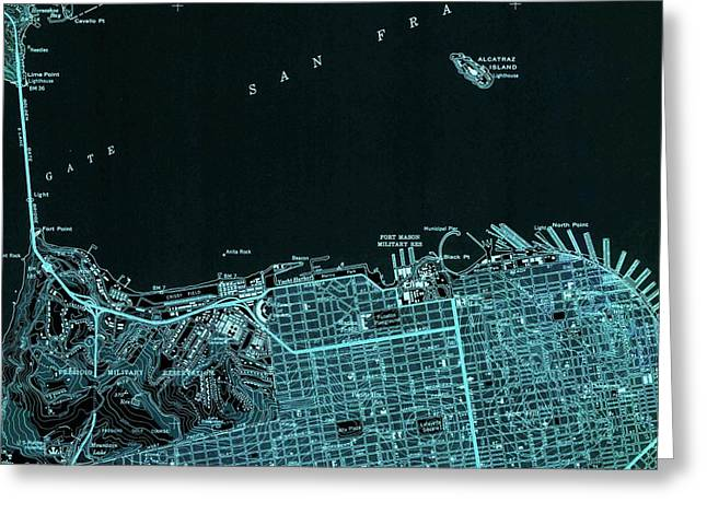 San Francisco North Old Map Year 1947 Blue Artwork Greeting Card
