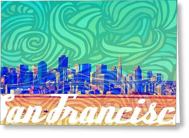 San Francisco Postales Greeting Card by Michelle Dallocchio