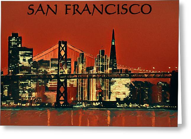 San Francisco Poster Greeting Card by Dan Sproul